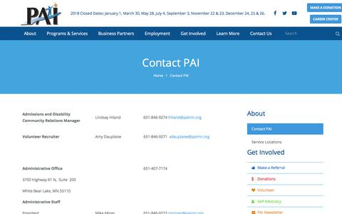 Screenshot of Contact Page paimn.org - Contact PAI - captured July 14, 2018