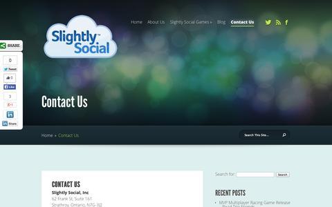 Screenshot of Contact Page slightlysocial.com - Contact Us | Slightly Social, Inc. - captured Oct. 26, 2014