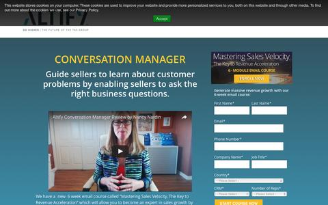 Screenshot of Landing Page altify.com - Conversation Manager from Altify - Learn More - captured Oct. 13, 2016