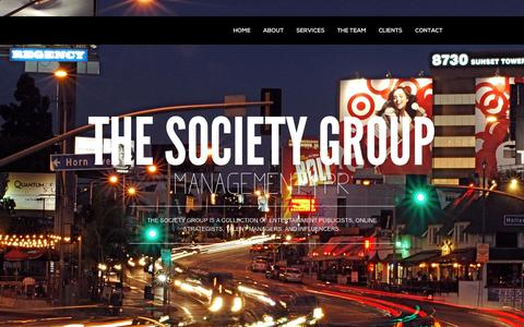 Screenshot of Home Page societygroup.biz - The Society Group - MANAGEMENT | PR | SOCIAL MEDIA - captured Oct. 9, 2014