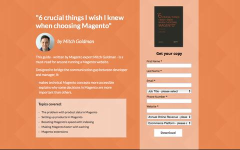 Screenshot of Landing Page ometria.com - The Ultimate Guide to Magento for Managers - captured Oct. 18, 2016
