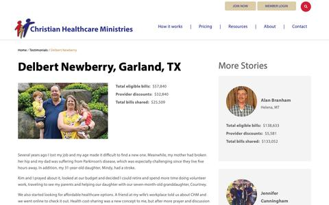Screenshot of Testimonials Page chministries.org - Garland, TX              | Christian Healthcare Ministries - captured May 16, 2019