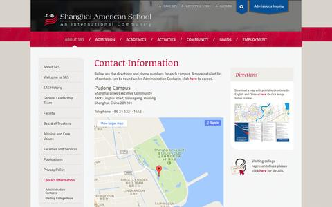 Screenshot of Contact Page Maps & Directions Page saschina.org - Shanghai American School - Contact Information - captured Dec. 6, 2016