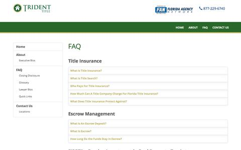 Screenshot of FAQ Page tridenttitlellc.com - FAQ | Trident Title - captured March 1, 2016