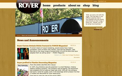 Screenshot of Press Page royercorp.com - News and Announcements from Royer Corporation - captured Nov. 12, 2016