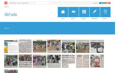 Screenshot of Press Page tbbfindia.org - The Blue Bird Foundation  | Media - captured Feb. 15, 2016