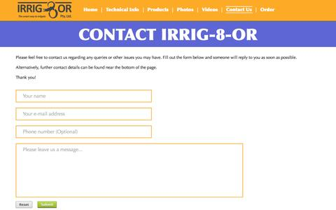Screenshot of Contact Page irrig8or.com.au - Contact Us | IRRIG-8-OR - captured Oct. 4, 2014
