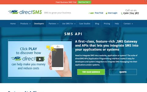 Screenshot of Developers Page directsms.com.au - SMS API & SMS Software | Direct SMS - captured Oct. 9, 2018