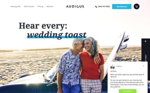Screenshot of Home Page audicus.com - Audicus says… - captured Nov. 4, 2018