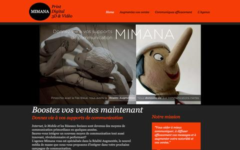 Screenshot of Home Page agence-realite-augmentee.com - Mimana Agence Réalité Augmentée - captured June 26, 2016