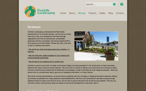 Screenshot of Developers Page foothillslandscaping.ca - Developers - Foothills Landscaping - captured Oct. 6, 2014