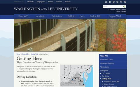 Screenshot of Maps & Directions Page wlu.edu - Getting Here : Washington and Lee University - captured Sept. 24, 2014