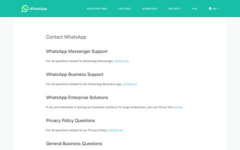 Screenshot of Contact Page whatsapp.com - WhatsApp - captured April 24, 2018