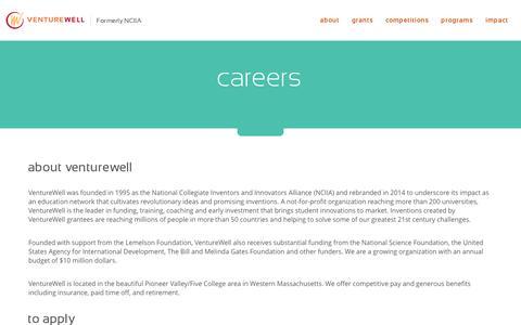 Screenshot of Jobs Page venturewell.org - VentureWell  careers - captured Nov. 5, 2014