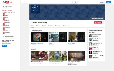 Screenshot of YouTube Page youtube.com - DuFour Advertising  - YouTube - captured Oct. 23, 2014