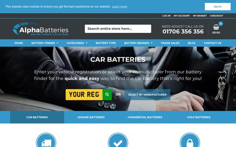 Screenshot of Home Page alpha-batteries.co.uk - Buy Car Batteries & Leisure Batteries Online - Express Next Day Delivery - Alpha Batteries - captured July 29, 2018