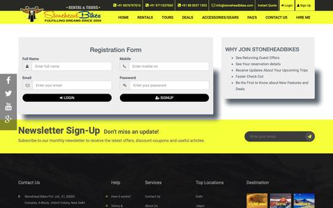 Screenshot of Signup Page stoneheadbikes.com captured Oct. 20, 2018