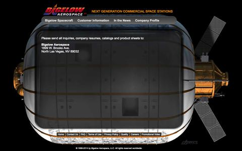 Screenshot of Contact Page bigelowaerospace.com - Bigelow Aerospace - captured Sept. 23, 2014