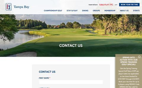 Screenshot of Contact Page tpctampabay.com - Contact Us | TPC Tampa Bay - captured Feb. 27, 2017