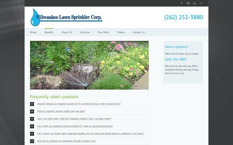 Screenshot of FAQ Page milwaukeelawnsprinkler.com - Frequently Asked Questions   Menomonee Falls   Milwaukee Lawn Sprinkler - captured Nov. 14, 2017