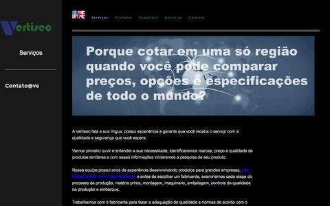 Screenshot of Services Page vertisec.us - Serviços - captured Oct. 26, 2014