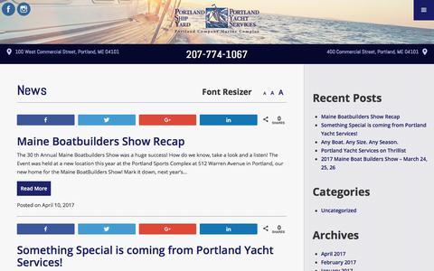 Screenshot of Press Page portlandyacht.com - News | Portland Yacht Services | Events - captured Aug. 7, 2017