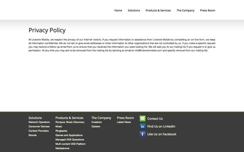 Screenshot of Privacy Page fonestarz.com - Privacy Policy | OnMobile - captured Sept. 16, 2014