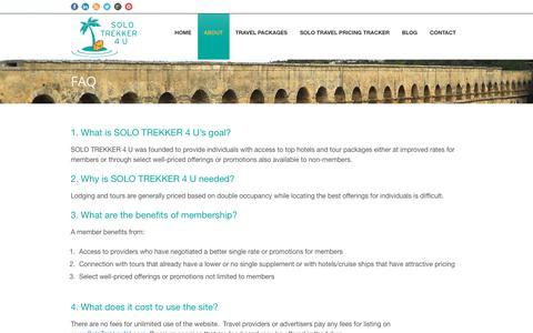 Screenshot of FAQ Page solotrekker4u.com - Trips for Single Travelers FAQ   Solo Trekker 4 U - captured Sept. 21, 2018