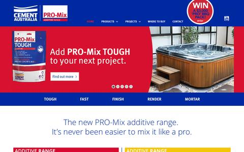 Screenshot of Home Page mixitlikeapro.com.au - Home - Cement Australia   Pro-Mix Additive Range - captured Jan. 26, 2015