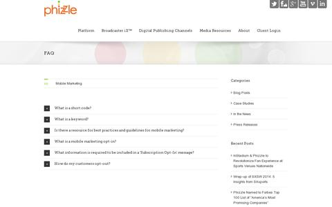 Screenshot of FAQ Page phizzle.com - Phizzle   –  FAQ - captured July 20, 2014