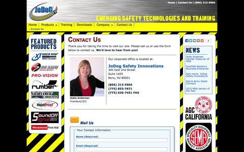Screenshot of Contact Page jodogsport.com - JoDog Safety Innovations - Contact Us - captured Oct. 6, 2014