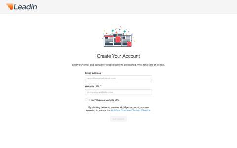 Screenshot of Signup Page hubspot.com - Leadin Signup - captured Oct. 27, 2016