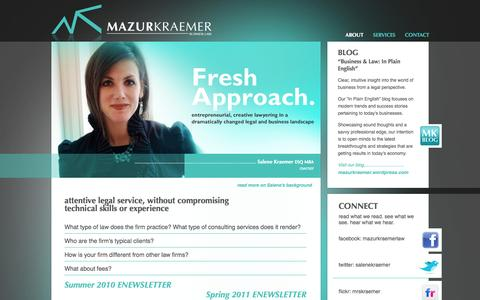 Screenshot of About Page mazurkraemer.com - MazurKraemer Business Law - Corporate Transactions - Bankruptcy and Restructuring - Pittsburgh - captured Oct. 3, 2014