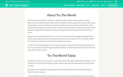 Discover international gourmet foods - About Try The World                     | Try The World