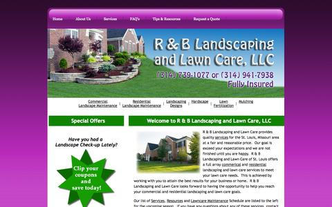 Screenshot of Home Page rblandlawn.com - R&B Landscaping & Lawn Care, LLC - captured Oct. 3, 2014