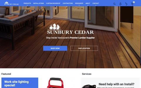 Screenshot of Home Page sunburycedar.com - Sunbury Cedar - Lumber Supply & Installation Vancouver - captured Dec. 2, 2016