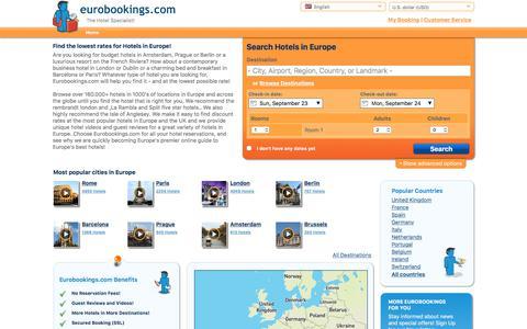 Screenshot of Home Page eurobookings.com - Eurobookings.com   European Hotel Reservations   Lowest Rate Guaranteed! - captured Sept. 22, 2018