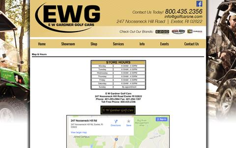 Screenshot of Maps & Directions Page golfcarsne.com - Stop in at E W Gardner Golf Cars at 247 Nooseneck Hill Road, Exeter, RI 02822. - captured Sept. 28, 2016