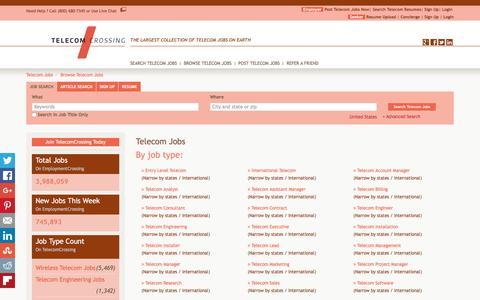 Screenshot of Jobs Page telecomcrossing.com - Telecom Jobs, Browse Jobs in Telecom By Job Type, City, State in United States   TelecomCrossing.com - captured Jan. 10, 2016