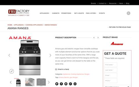 Screenshot of Products Page factorybuilderstores.com - Amana Ranges - Factory Builder Stores - captured Oct. 10, 2018