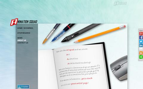 Screenshot of About Page animationsquad.com - A Squad - Animation Studio - Contact - captured Sept. 30, 2014