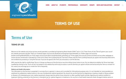 Screenshot of Terms Page ewh.org - Terms of Use - captured Oct. 2, 2014