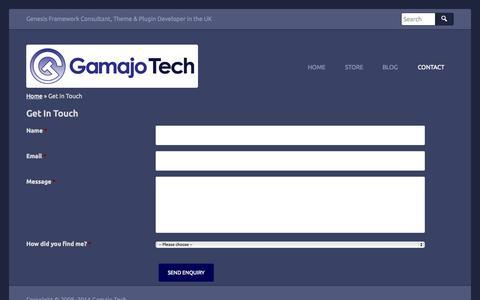 Screenshot of Contact Page gamajo.com - Contact Gary Jones - WordPress Consultant and Freelance Web Developer - captured Sept. 19, 2014