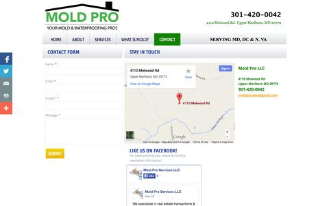 Screenshot of Privacy Page Contact Page moldproservices.com - Contact - Mold Pro Services - captured Oct. 23, 2014