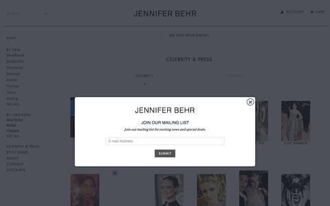 Screenshot of Press Page jenniferbehr.com - Celebrity & Press - captured Aug. 7, 2016