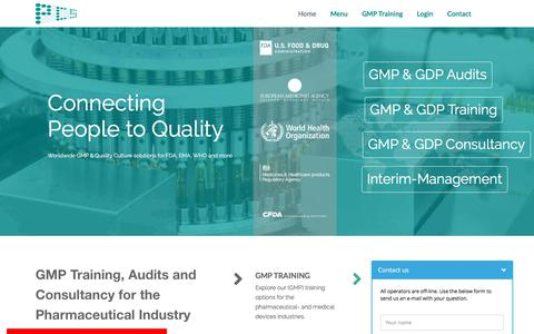 Screenshot of Home Page Menu Page pcs-nl.com - GMP - Consultancy and Training - Pharmaceutical Consultancy Services (PCS) - captured Sept. 25, 2018