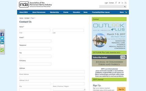 Screenshot of Contact Page inda.org - INDA | Contact - captured Nov. 18, 2016