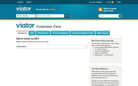 Screenshot of Contact Page viator.com - Viator Customer Care - 24/7 Assistance | Viator.com - captured May 23, 2016