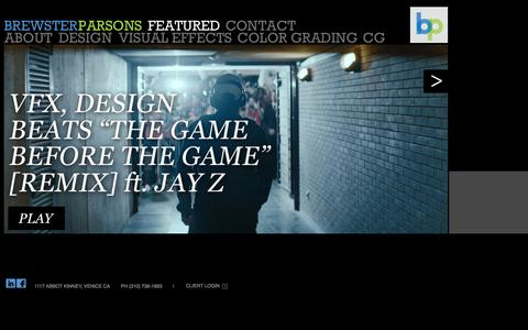 Screenshot of Home Page brewsterparsons.com - BREWSTER PARSONS // Visual Effects & Design - captured Sept. 30, 2014