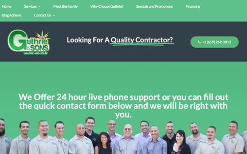 Screenshot of Contact Page guthrieandsons.com - Contact Us - captured Sept. 30, 2018